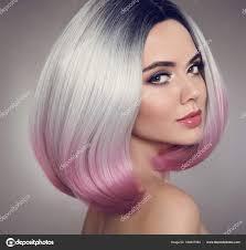 Barevné Ombre Bob Vlasy Rozšíření Kosmetické Make Up Atraktivní