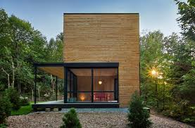 wooden house furniture. wooden house exterior with large windows spacious interior design and red room furniture