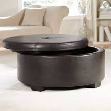 round leather storage ottoman coffee table furniture with black fabric covered large small box soft cocktail and faux bench green square padded wheels