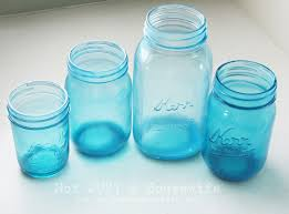 blue mason jars. Colored ...