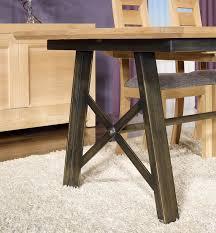 Table rectangulaire en Chêne et Fer 190x100 avec 2 allonges de 45 cm ...