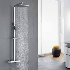Modernes Badezimmer Duschsysteme Quadratischer Kopfbrausekopf Thermostat Regendusche Duschset