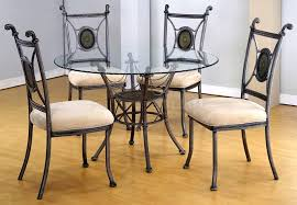 round glass dining table set classic tables with wood legs have 4 old chairs above laminate