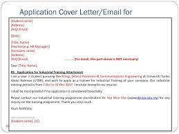 Industrial Training Placement Application Letter Intern