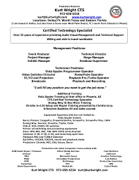 Audio Visual Technician Resume Sample Basic Examples 13259