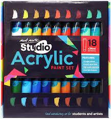Details About Mont Marte Studio Acrylic Paint Set 18pce X 36ml Excellent Range Of Colours