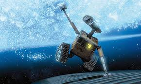Wall-E playing with the mist of the vacuum like stars