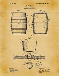 beer wall art beautiful patent 1898 beer barrel wine barrel beer keg art