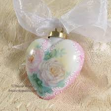 Victorian Heart Porcelain Christmas Ornament Hand Painted Pink ...
