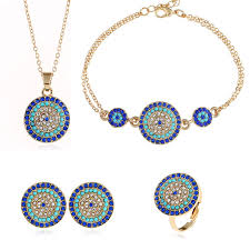 details about round eye pendant necklace earrings turkish blue eye ring bracelet jewelry set