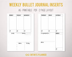 Bullet Journal Template Pdf A5 Weekly Layout On 2 Pages Bullet Journal Printable Template