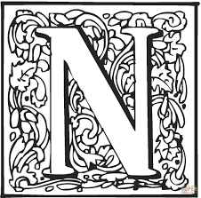 Letter N With Ornament Coloring Page Free Printable Coloring Pages