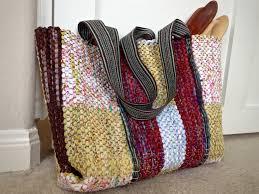 rag rug bag with woven handles karen isenhower