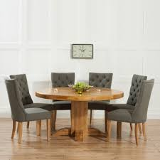 trina solid oak round dining table with 6 albany grey chairs 4394