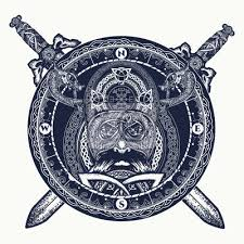Fototapeta Vikingové A Zkřížené Meče Tetování Prsteny Se Skandinávským