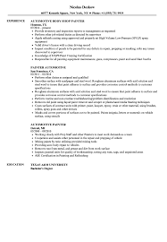 Painter Resume Automotive Painter Resume Samples Velvet Jobs 17