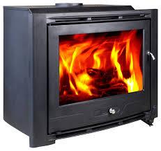 hiflame cast iron wood burning fireplace insert matt black