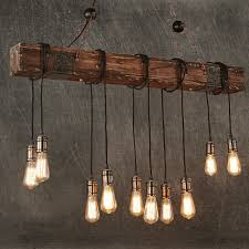 Wood With Lights Details About 10 Lights Antique Farmhouse Wood Beam Island Hanging Pendant Light Chandelier