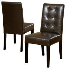 brown dining chairs. Gillian Brown Leather Dining Chairs, Set Of 2 Chairs