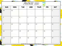 August Theme Calendar Editable Calendars 2019 2020 Bee Theme