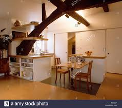 Large Kitchen Dining Room Wooden Table And Chairs In White Loft Kitchen Dining Room With