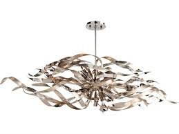 corbett lighting graffiti silver leaf polished stainless six light 48 wide island
