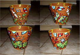 Pot Decoration Designs Ideas for painting plastic flower pots 17