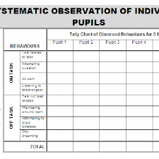 On Task Off Task Chart Systematic Observation Schedule For Pupils On Task Off Task