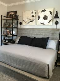 bedrooms for boys soccer. Beautiful Boys Industrial Style Boy Soccer Themed Bedroom DIY Handmade Wood Bed Shelves  Photos Frames And Wire Baskets Are From Target With Bedrooms For Boys Soccer