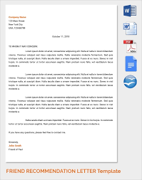 Recommendation Letter For A Friend Template Sample Reference Letters 17 Download Free Documents In