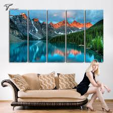 modern wall art home decor painting canadian rocky mountain parks art canvas print 5 panels beautiful naturel scenery no frame in painting calligraphy  on wall art canvas prints canada with modern wall art home decor painting canadian rocky mountain parks