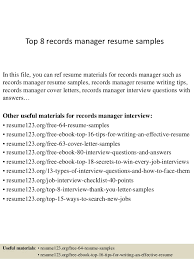 Top 8 records manager resume samples In this file, you can ref resume  materials for ...