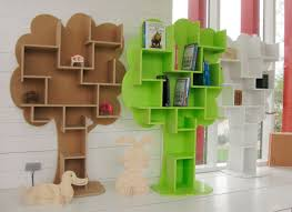 ... Adorable Bookcases For Kids Buying Tips Tree Shape Unique Brown Green  And White Colour Stuffed By ...