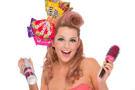 beauty model with candy themed hair makeup having a great time doing her