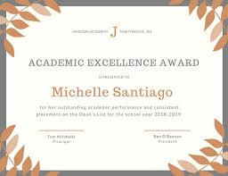 Award Of Excellence Certificate Template Adorable Orange Grey Laurel Academic Excellence Certificate Templates By Canva