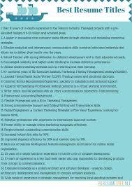 Good Resume Titles Cool Resume Title Sample Useful Good Resume Title Best Resume Gallery