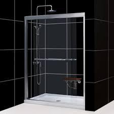 frameless single shower doors. DreamLine DL-695 Duet Frameless Bypass Sliding Shower Door And SlimLine Single Threshold Base Doors