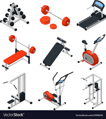 Gym equipment isometric set Royalty Free Vector Image