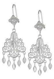 fashion jewellery 14k white gold chandelier earrings