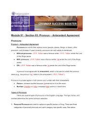 Pronoun Antecedent Agreement Module 01 Section 03 Pronoun Antecedent Agreement Pages 1 3