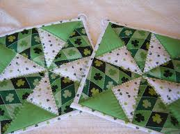 St Patricks Day Quilted Potholders - Set of 2 | Quilted potholders ... & St Patricks Day Quilted Potholders - Set of 2 Adamdwight.com