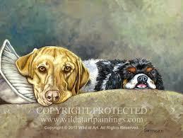 yellow lab er spaniel pet portrait oil painting on 12 x 16 canvas