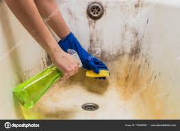 hands in blue rubber worker handgloves hold sponge and spray with detergent clean bath tub covered in fungus dirt and mold photo by photoboyko