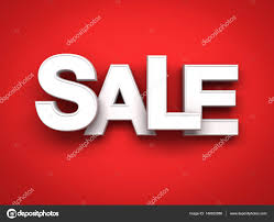 sale word 3d white sale word on red background with shadow 3d render stock