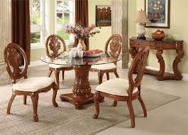 Round dining table set Black Frameless Glass Round Table With Crafted Wood Base Four Wooden Chairs With Crafted Back And White Homesfeed Round Dining Table Set For Homesfeed