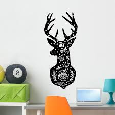 scandinavian fl deer wall decal wallmonkeys l and stick animal graphics 48 in h x 48 in w wm502892 com