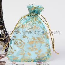 rose printed organza bags op r021 10x15 02 1