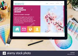 Touch Screen Web Design Tablet Pro Touchscreen On Desktop With Website Colorful On