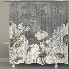 black and gray shower curtain. laural home® flowers on grey shower curtain black and gray a