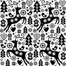 クリスマス ベクトル フォーク スタイルのシームレスなパターンは黒と白トナカイ鳥の北欧デザインと花